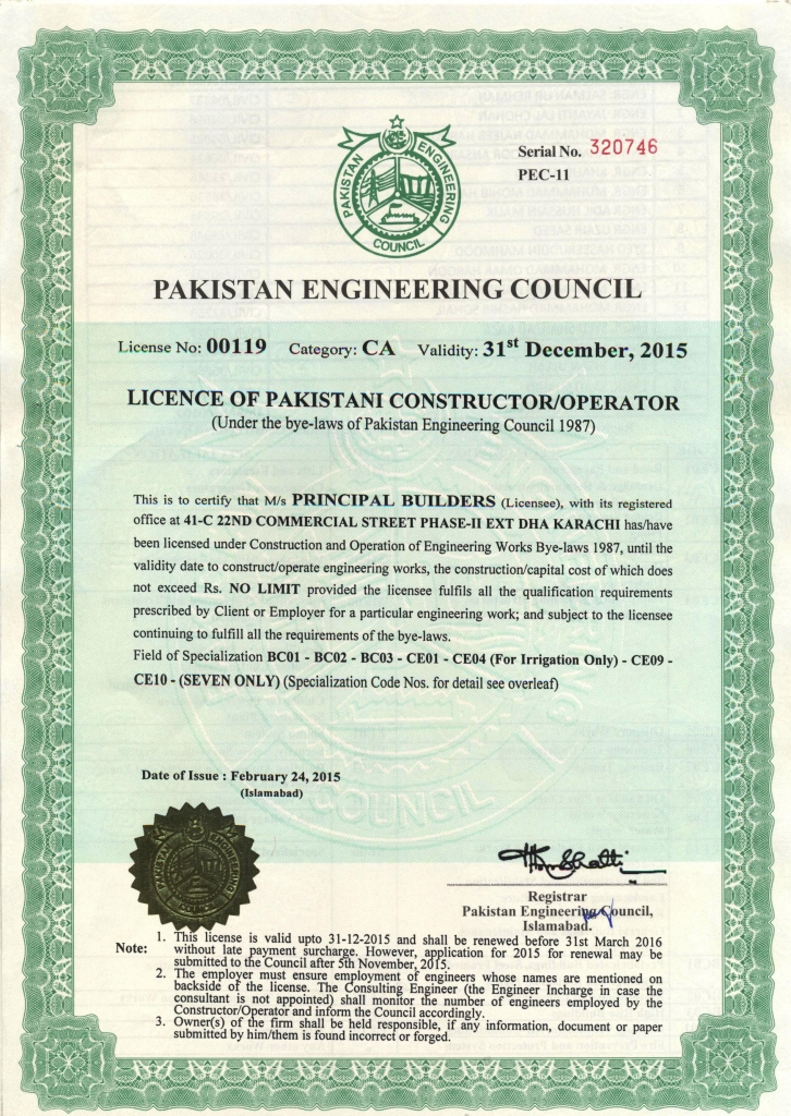 principal � engineers amp constructors awards amp certificates