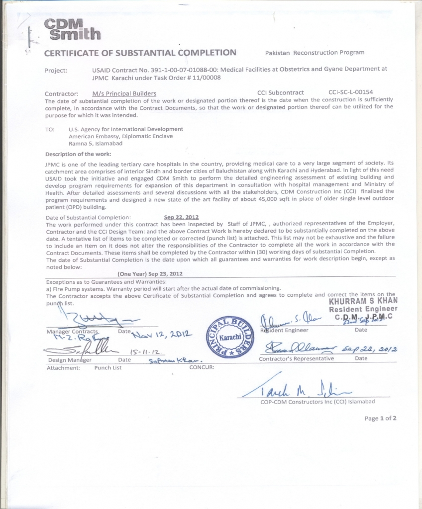 PRINCIPAL Engineers Constructors Awards Certificates – Certificate of Completion Construction